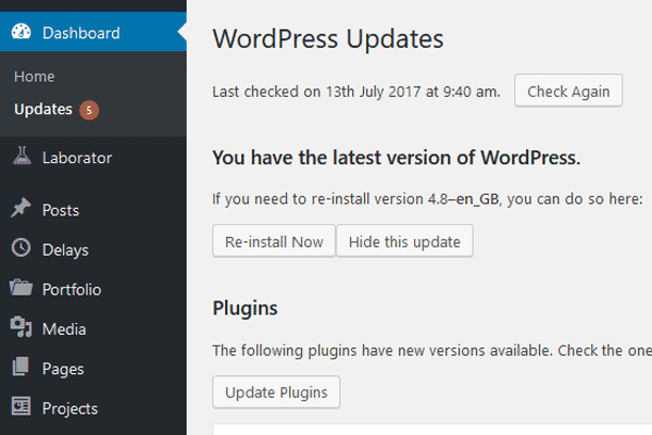 dashboard for wordpress updates